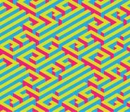 Labirinto isometrico variopinto Ornamento senza giunte Colori di contrapposizione luminosi Immagini Stock