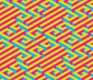 Labirinto isometrico variopinto Ornamento senza giunte Colori di contrapposizione luminosi Rosso, blu, giallo Fotografia Stock Libera da Diritti