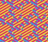 Labirinto isometrico variopinto Ornamento senza giunte Colori di contrapposizione luminosi Rosso, blu, giallo Fotografie Stock Libere da Diritti
