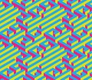 Labirinto isometrico variopinto Ornamento senza giunte Colori di contrapposizione luminosi Rosso, blu, giallo Fotografie Stock