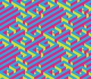 Labirinto isometrico variopinto Ornamento senza giunte Colori di contrapposizione luminosi Rosso, blu, giallo Immagine Stock Libera da Diritti