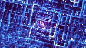 _labirinto luce, astratto tecnologia 3d rendere fondo, generato da computer, per tecnologia o affare illustrazione di stock