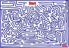 Labirinto número onze, dificuldade feito à mão, média, azul brilhante ilustração do vetor