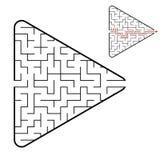 Labirinto na forma de uma seta Jogo para miúdos Enigma para crianças Encontre o trajeto direito Enigma do labirinto Vetor liso imagem de stock