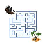 Labirinto nello stile del fumetto Isola della nave e del tesoro di pirata Labirinto del gioco del ` s dei bambini Puzzle dei bamb royalty illustrazione gratis