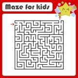 Labirinto quadrado abstrato Caçoa folhas Página da atividade Enigma do jogo para crianças Estrela bonito dos desenhos animados En imagem de stock royalty free