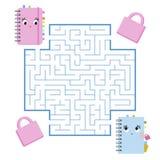 Labirinto quadrado da cor Jogo para miúdos Enigma para crianças Ajude os cadernos bonitos a encontrar-se Enigma do labirinto Veto ilustração royalty free