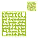 Labirinto quadrado de arbustos do jardim Jogo para miúdos Enigma para crianças Uma entrada, uma saída Enigma do labirinto Vetor l foto de stock royalty free