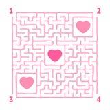 Labirinto quadrado Jogo para miúdos Enigma para crianças Enigma do labirinto Ilustração lisa do vetor isolada no fundo branco imagem de stock royalty free