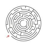 Labirinto redondo Com a entrada e a saída Um jogo interessante para crianças e adultos Ilustração lisa simples do vetor isolada Foto de Stock Royalty Free