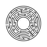 Labirinto redondo Um jogo interessante e útil para crianças e adultos Ilustração lisa simples do vetor isolada no backgro branco fotografia de stock royalty free