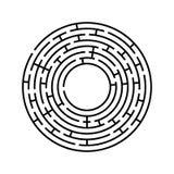 Labirinto redondo Um jogo interessante e útil para crianças e adultos Ilustração lisa simples do vetor isolada no backgro branco imagem de stock
