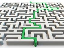 Labirinto resolvido com seta verde ilustração do vetor
