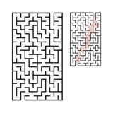 Labirinto rettangolare astratto Gioco per i bambini Puzzle per i bambini Un'entrata, un'uscita Enigma del labirinto Vettore piano illustrazione di stock