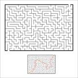 Labirinto rettangolare astratto Gioco per i bambini Puzzle per i bambini Un estasia, un'uscita Enigma del labirinto Vettore piano illustrazione vettoriale