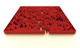 Labirinto rosso con illuminazione sottile Fotografia Stock
