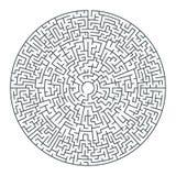 Labirinto rotondo di vettore astratto di alta complessità illustrazione vettoriale