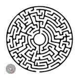 Labirinto rotondo di vettore nero Fotografia Stock
