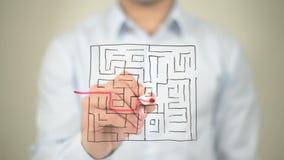 Labirinto, trajeto ao sucesso, tirando na tela transparente filme
