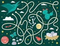 Labirynt dla dzieci Preschool aktywność z dinosaurem Intryguje grę z pterodaktylem, chmury, jajka w gniazdeczku, kości, motyl, pt royalty ilustracja