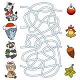 Labirynt gra dla dzieci: mali zwierzęta i Bożenarodzeniowe dekoracje Zdjęcia Stock