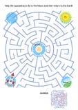 Labirynt gra dla dzieciaków - statek kosmiczny księżyc lot Zdjęcia Royalty Free