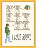 Labirynt lub labitynt gra dla dzieciaków w bibliotece lub bookstore Zdjęcie Stock
