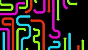 Labirynt varicolored strzała na czarnym tle, 2d ilustracja Zdjęcie Stock
