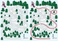 labirynt zima ilustracji