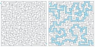 Labitynt, labirynt z rozwiązanie wektoru ilustracją Kwadratowy labirynt Madryt, Barcelona, Walencja armsmadrid ?akiet, Barcelona, ilustracja wektor