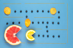 Labitynt produkty Cytryna, greyprut i czarne jagody, Fotografia Stock