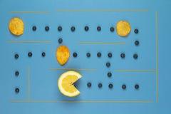 Labitynt produkty Cytryna i czarne jagody Obraz Stock