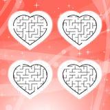 Labitynt z czarnym uderzeniem Set cztery serca dzieci kropek znaleziska gra chujący nakreślenie target84_0_ ty Prosta płaska wekt royalty ilustracja