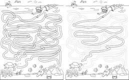 Labityntu labiryntu gra z rozwiązaniem Znajduje żółwia royalty ilustracja
