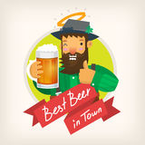 Lable for a beer pub. Label template for a beer pub with an Irish leprechaun winking and inviting to have a mug of ale. Vector illustration Royalty Free Stock Image