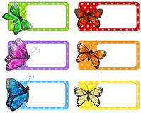 Lable design with colorful butterflies Royalty Free Stock Images