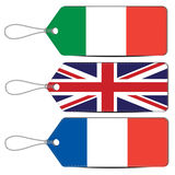 Lable made in Italy England and France Royalty Free Stock Photo