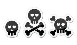 Crânio dos desenhos animados com grupo do ícone dos ossos e dos corações Imagens de Stock
