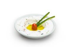 Labneh酸奶干酪黎巴嫩食物 免版税库存图片
