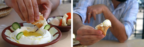 Labneh Dipping and Offering Royalty Free Stock Photos