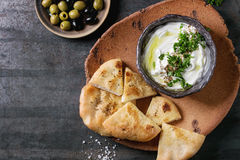 Labneh fresh lebanese cream cheese dip Stock Photography