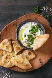 Labneh fresh lebanese cream cheese dip Stock Photo