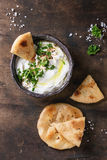 Labneh fresh lebanese cream cheese dip Stock Photos