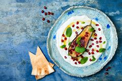 Labneh middle eastern lebanese cream cheese dip with roasted aubergine, pomegranate, mint and pita. Stock Photos