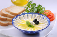 Labneh with olive oil & Bread Stock Photo