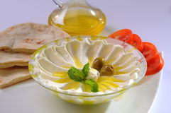 Labneh with olive oil & Bread Royalty Free Stock Image