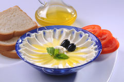 Labneh with olive oil & Bread Royalty Free Stock Photos
