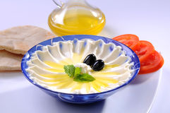 Labneh with olive oil & Bread Stock Photography