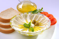 Labneh with olive oil & Bread Royalty Free Stock Images