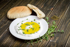 Labneh Strained yogurt with Zaatar Stock Photos